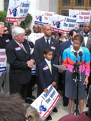 Eleanor Holmes Norton - Jack Kemp, Adrian Fenty, and Norton at D.C. Vote rally on Capitol Hill.