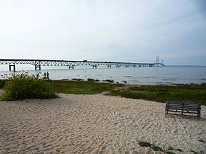 Mackinaw City, Michigan - The Mackinac Bridge as viewed from Mackinaw City