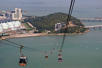 Chek Lap Kok - View of the Airport Island Angle Station of the Ngong Ping 360 cable car system built on Scenic Hill, the unlevelled peninsula in the south of Chek Lap Kok.