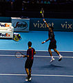 2014-11-12 2014 ATP World Tour Finals Horia Tecau smashing by Michael Frey.jpg