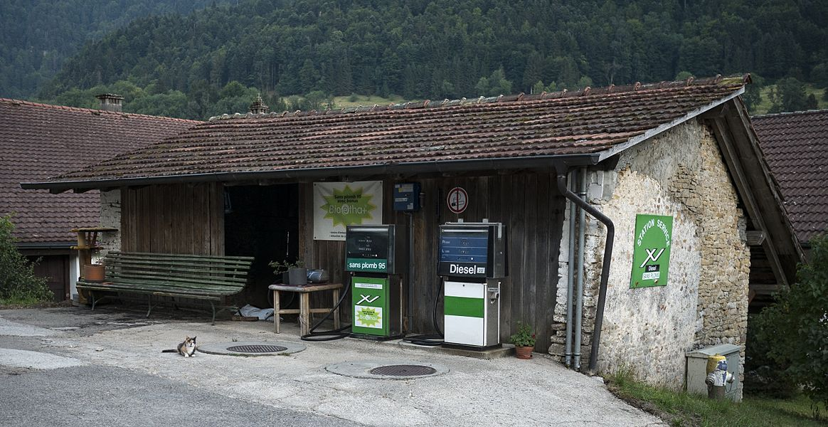 Petrol station at Soubey, Canton of Jura, Switzerland