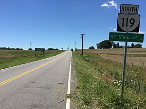 Virginia State Route 119 - View south at the north end of SR 119
