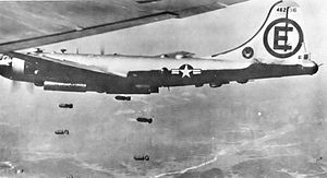 "22d Operations Group - 22d Bombardment Group Boeing B-29A-65-BN Superfortress 44-62196 ""Never Happen"", on a mission over North Korea, July 1950."