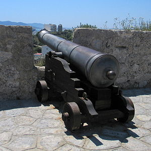 Spanish 24-pounder long gun mounted on the coastal defences of Ibiza Town.