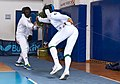 2nd Leonidas Pirgos Fencing Tournament. Alhussain Ahmed performs a flèche and scores a touch.jpg