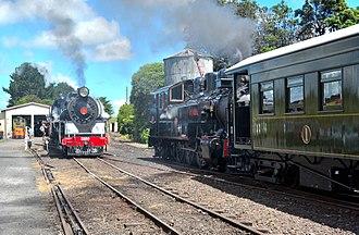 Glenbrook Vintage Railway - Ww 644 passing Ja 1250 Diana at the Pukeoware depot.