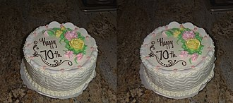 Fujifilm FinePix Real 3D - Closeup stereo of a cake. Taken by backing off several feet and then zooming in.