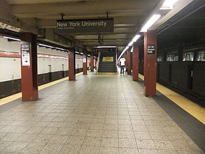 42nd Street–Bryant Park/Fifth Avenue (New York City Subway) - Uptown and Queens platform with stairway to transfer.