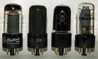6V6 - Various 6V6's manufactured around the world; from left to right – 6V6GTA by General Electric, 6V6GT JAN National Union (1940s), 6P6S (USSR, 1978) and modern production 6V6GT by Electro-Harmonix.