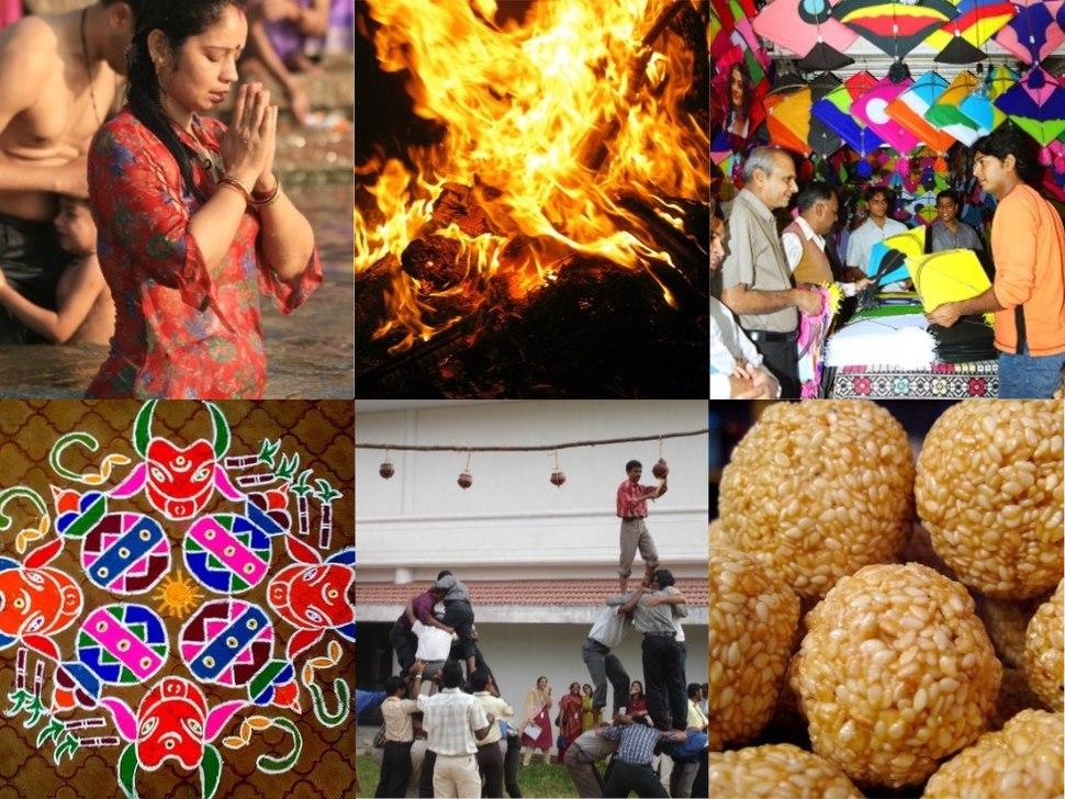 6 images Makar Sankranti collage