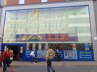 99p Stores - 99p Stores on Lands Lane in Leeds in 2015.  This is now a branch of Poundland.