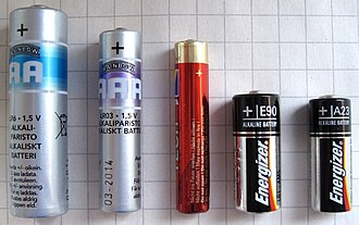 A23 battery - Left to right: AA, AAA, AAAA, N and A23 batteries.