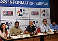 A.K. Bir addressing at the unveiling of the catalogues detailing the feature and non-feature programmes of IFFI-11, in Panaji, Goa. The Director, IFFI, Shri Shankar Mohan and the CEO of ESG.jpg