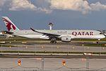 A7-ALG Qatar Airways Airbus A350-941 lining up on Rwy 18 for departure to Dohar (DOH - OTHH) @ Frankfurt - Rhein-Main International (FRA - EDDF) - 13.05.2017 (34264843520).jpg