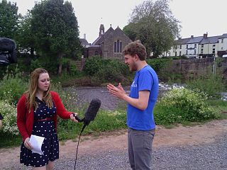 John Cummings being interviewed for radio