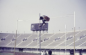 ASC Leiden - Rietveld Collection - Nigeria 1970 - 1973 - 01 - 087 Pan African Games Lagos January 7-18, 1973. A high jumper hits the bar in the stadium - Lagos.jpg