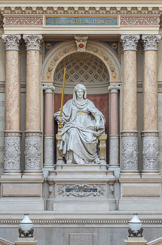 Judiciary of Austria - A statue of Iustitia in the Austrian Palace of Justice, the seat of one of the country's top courts