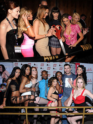 AVN Adult Entertainment Expo - Top: AVN Expo 2014 Ribbon Cutting. Bottom: Models on the Show Floor 2015 at the Hard Rock Hotel, Las Vegas, NV