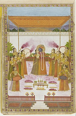 A painting from the collection of the Smithsonian Institution depicting Indian deity Krishna celebrating holi with Radha and the Gopis.