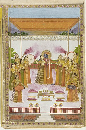 Krishna, Radha and the Gopis celebrating Holi.
