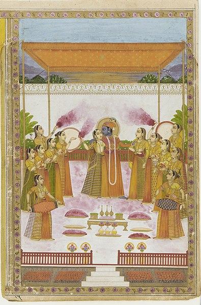 चित्र:A Holi Festival - Krishna Radha and Gopis.jpg