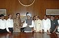 A Shiv Sena delegation led by the former Chief Minister of Maharashtra, Shri Manohar Joshi and the Shiv Sena Executive President, Shri Uddhav Thackeray calling on the Prime Minister, Dr. Manmohan Singh, in New Delhi.jpg