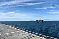 A U.S. Navy X-47B Unmanned Combat Air System demonstrator aircraft launches from the flight deck of the aircraft carrier USS George H.W. Bush (CVN 77) May 14, 2013, in the Atlantic Ocean 130514-N-YZ751-635.jpg