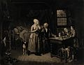 A country doctor comforting the mother of a sick child, who Wellcome V0017084.jpg
