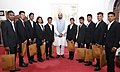 """A group of students of Government Ashram School, Chandrapur, Maharashtra who participated in the """"Mission Shaurya"""" to scale the Mount Everest, calling on the Minister of State for Home Affairs, Shri Hansraj Gangaram Ahir.JPG"""