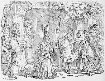 Engraving of a party of mummers 1864