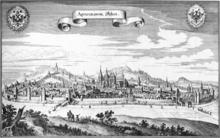 Veduta di Aquisgrana in una stampa di Matthäus Merian (1647)