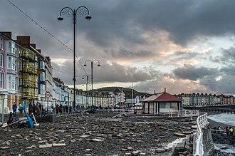 Cyclones Anne and Christina - Aberystwyth promenade 4 January