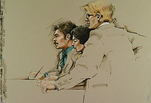 Courtroom sketch - A courtroom sketch of an accused person flanked by two attorneys, drawn in about eight minutes.