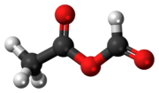 Ball-and-stick model of the acetic formic anhydride molecule
