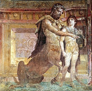 Centaur - Chiron teaching Achilles how to play the lyre, a Roman fresco from Herculaneum, 1st century AD.