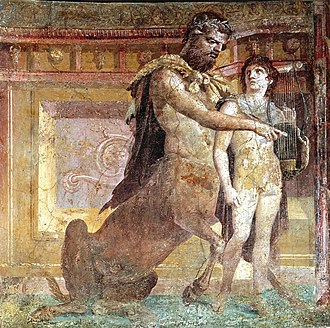 Achilles - Chiron teaching Achilles how to play the lyre, Roman fresco from Herculaneum, 1st century AD