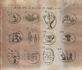 Jacob de Wilde - Illustration from critique of Gemmae antiquae selectae ... published in Acta Eruditorum, 1704