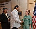 Actor Napoleon with U.S. Consul General, Chennai Jennifer McIntyre who hosted a reception to celebrate America's 236th birthday in Chennai on July 03, 2012.jpg