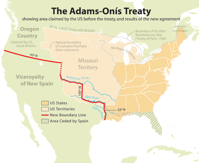 In the Adams-Onis Treaty, the United States acquired Florida and set the western border of the 1803 Louisiana Purchase Adams onis map.png