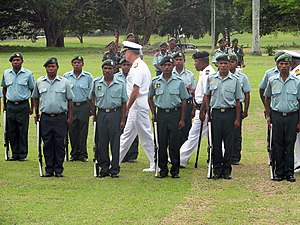 Papua New Guinea Defence Force - Admiral Patrick Walsh, commander of the U.S. Pacific Fleet, reviews a Papua New Guinea Defence Force Honor guard