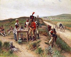 Vivandière - Some Grenadiers and a Chasseur à cheval and a vivandière.
