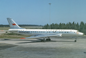 Aeroflot Flight 902 - A Tupolev Tu-104A, similar to the one involved in the accident, is seen here at Arlanda Airport in 1966
