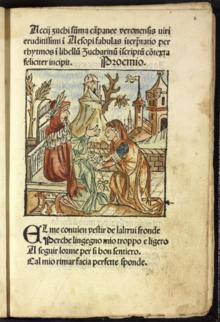 The beginning of 1485 Italian edition of Aesopus Moralisatus