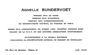 Agnelle Bundervoët - Image: Agnelle Bundervoët carte de visite