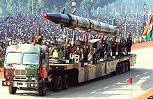 Un missile balistico indiano Agni-II, equipaggiabile con testate nucleari