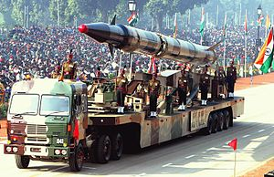 Integrated Guided Missile Development Programme - An Agni-II during the Republic Day parade in 2004.