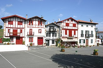 Labourd - Ainhoa village houses showing some aspects of traditional Basque architecture