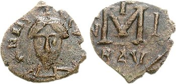 Follis Aistulfs, minted in Ravenna around 751
