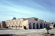 The Al-Aqsa Mosque congregation building, the site from which Muhammad is believed by Muslims to have ascended to heaven.
