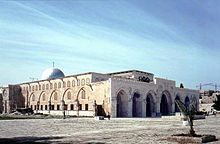 The Al-Aqsa Mosque congregation building. The site from which Muhammad is believed by Muslims to have ascended to heaven.